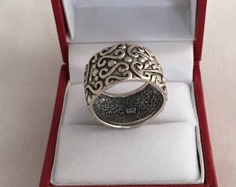 Swirls Wide Cigar Band Artisan Ring Oxidized Finish Sterling Silver 925
