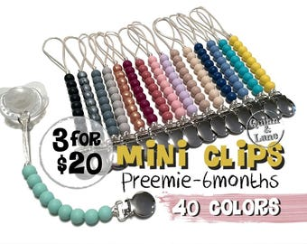 3 for 20 - Mini Pacifier Clip - Silicone Teething Choose Color - Baby Toy - Bite Beads Soother Clip - Chewing Beads - Small Preemie Newborn