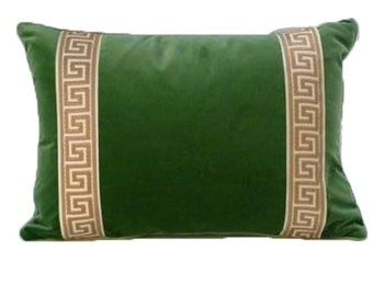 Hunter Green Designer Velvet Pillow Cover Greek key ribbon trim All Size Available