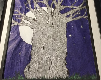 Edward Gorey-Inspired Tree in Pen and Ink