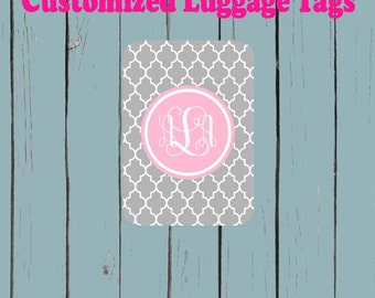 Grey Quatrefoil print Pink Monogram Name Luggage Tag - Luggage Tag Monogrammed