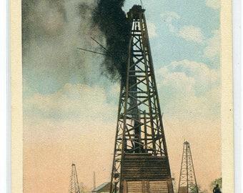 Oil Well Gusher Okmulgee Oklahoma 1930s postcard