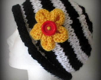 knit hat - hand knit hat - black and white knit hat - hat - yellow knit flower - black knit hat - white knit hat - striped knit hat - flower