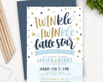Twin Birthday Invitations / Twinkle Twinkle Little Star First Birthday Invitation Printable / Twin Boy Invites / Blue Gold Glitter Invites
