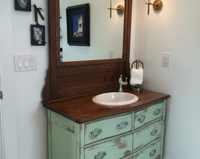 BATHROOM VANITY From Antique Dresser! We Find, Restore, Convert, Paint and Distress - One Of A Kind! Country Furniture