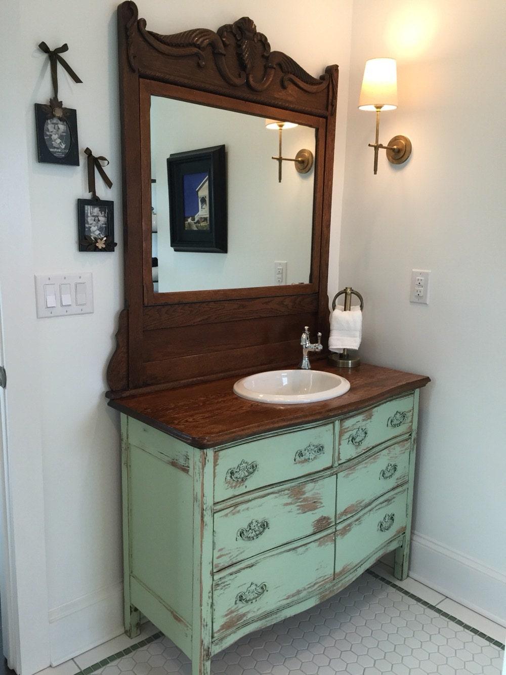 🔎zoom - BATHROOM VANITY From Antique Dresser We Find Restore