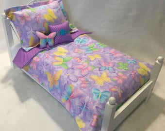 """Girl Doll Bedding Set ~ American made for 18"""" Dolls ~ Purple Butterfly Pink Blue"""
