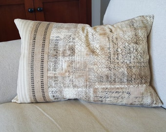 News Script - Designer Print Feather Down Pillow