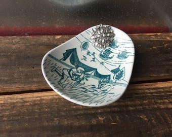 Viking Antique dish ring dish   Assemblage jewelry storage   Repurpose ring tray