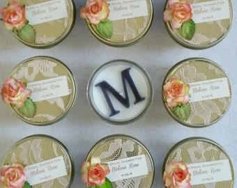 Antique Lace Wedding Favors | 100 Soy Candle Favors | Personalized | Gold Metallic Font | Silver Font | Antique Wedding | Choose Rose Color