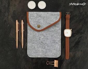 Felt iPad Case iPad Mini Case iPad Air Case iPad Sleeve iPad Mini Sleeve iPad Air Sleeve Light Grey Button Brown Tan Apple