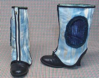 Blue Spats Costume Boot  Steampunk  cosplay LARP zipper  upholstery fabric   leg warmers Geechlark r25