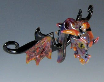 Lampwork Beads Glass Dragon Head Boro Pendant Glass Bead Ornament Suncatcher Collectable RC Art Glass Lampwork Glass
