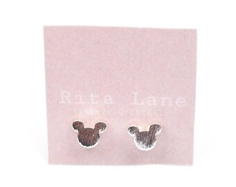 Disney Inspired Mickey Mouse Silhouette Silver Plated Stud Earrings