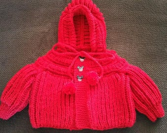 Baby Boys (3-6 mos.) Hooded Sweater in Red