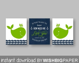 Lime Navy Whale Nursery Art Print-Set of three-Nautical Nursery Art.If you want to know how much we love you count all the waves in the sea