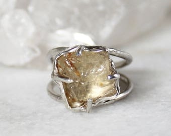 sunstone ring, recycled silver, modern ring, statement ring, fall fashion, gifts for her, oregon sunstone