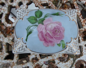 Vintage 1930s to 1950s Porcelain German Covered Dish Cigarettes/Trinket Hallmarked Blue With Pink Rose/Green Rectangle Gold Trim