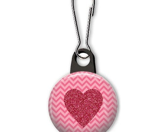 Heart zipper pull.  Heart charm.  Zipper pull for your wallet, purse, backpack, jacket, or planner.  Custom zipper pulls available.
