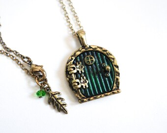 Vintage style bronze hobbit door pendant locket necklace costume jewellery gift by East Link