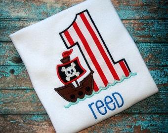 Pirate Birthday Shirt - Pirate Party, Pirate Shirt, Pirate Ship, First Birthday Shirt, 1st Birthday Outfit, Boys Birthday Shirt, Summer Baby