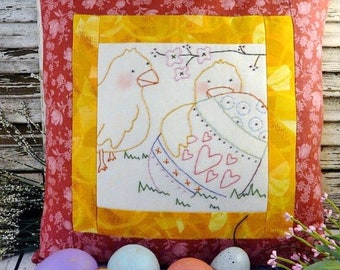 EASTER Chick embroidery PATTERN PDF - stitchery tag egg pillow Spring buds primitive spring