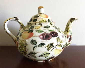 Colorful Chintz Teapot / Formalities by Baun Bros. / China Teapot / Eden Fruit Chintz / 4 Cup Pot