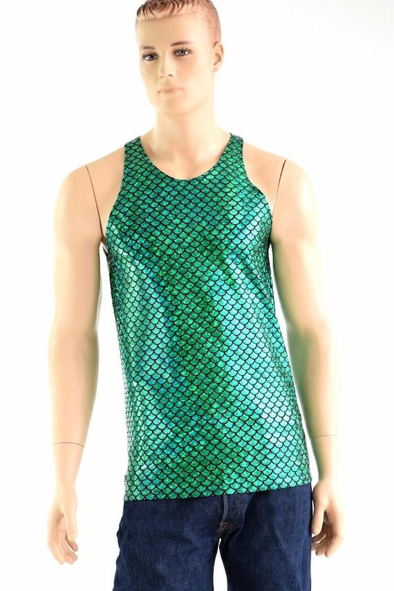 Mens Green Dragon Scale Muscle Shirt Mens Rave or Festival Shirt Triton Mermaid Merman 154007 b1vGRpFFq