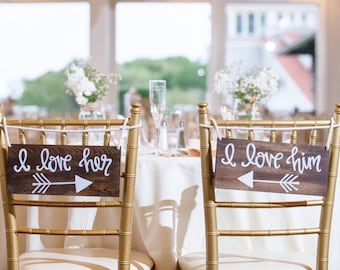 I Love Him, I Love Her Wedding Sweetheart Table or Chair Signs or Photo Prop Hand Painted Walnut with White Lettering Calligraphy