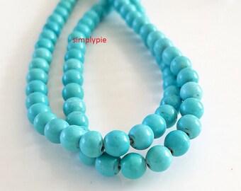 Round Turquoise Magnesite Gemstone beads 6mm 16-inch Strand