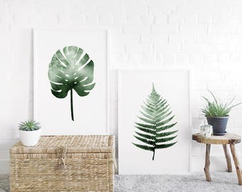 Watercolour Fern and/or Monstera Leaf A1 Art Print, Plant Print Pair, Set of 2 Botanical, Extra Large Prints, Giftability, Mothers Day