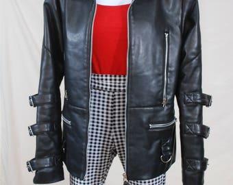 90s Faux Leather Biker Buckle Jacket | VTG Leather Biker Jacket
