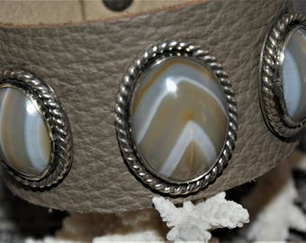 Banded Agate Sterling Silver Leather Handmade Bracelet by Susan