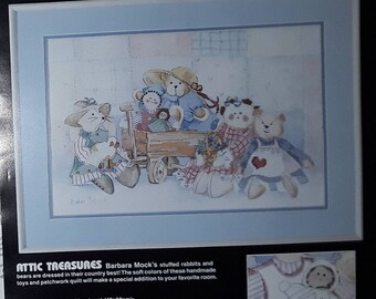 """Dimensions """"Attic Treasures"""" No Count Cross Stitch Kit #3915 by Barbara Mock Teddy Bears, Rabbits, Dolls, Opened Package."""