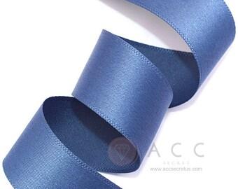 5Yards Blue Jean Single Faced Satin Ribbon - 10mm(3/8''), 15mm(5/8''), 25mm(1''), and 40mm(1 1/2'') - Semi Gloss Flat Satin