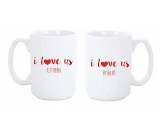 Valentine Gift   I love us Mug Set   Wedding Gift   Personalized Mug   Personalized Gift   I Love Us   Custom Mugs