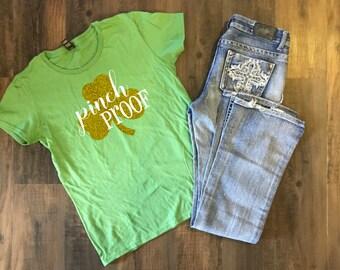 Pinch Proof Glitter Shamrock T-shirt