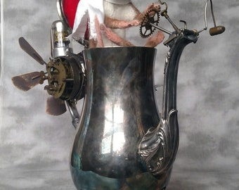 Reserved  Toby  Steampunk Coffee Craft Vessel Rat One of a Kind OOAK Needle felt Artist Silver Plated Steampunk Vessel Skull and Cross Bones