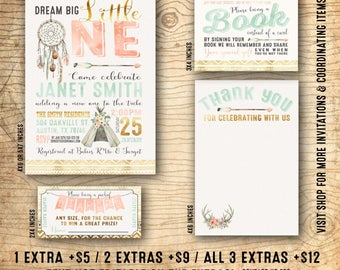 Dream Catcher baby shower invitation - Tribal baby shower invitation - Dream big little one - boho baby shower invitation - U print