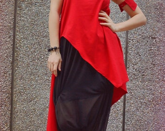 Extravagant Red Top / Funky Red Tunic / Asymmetrical Cotton Top / Long Extravagant Red Blouse TT80