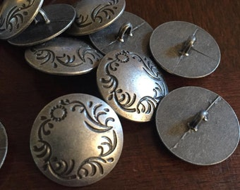 22 mm floral metal shank button in antique silver color, set of 10