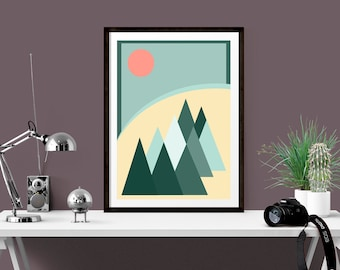 Hygge Inspired Art Print,  Modern Art Landscape Forest Design, Ideal Housewarming Gift for friends, Pastel Wall Art, Gallery Wall Print