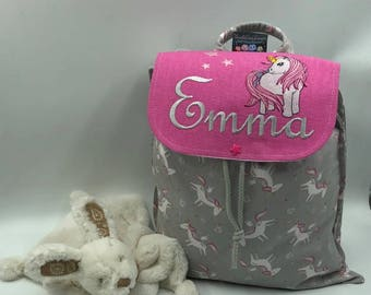 Backpack child 2/3 years custom embroidery with name and Unicorn design