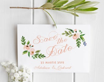 Florals watercolor Save the date template| Wedding printable| wedding save the date card