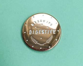 Rose Gold Digestive Biscuit Enamel Pin / Pin Badge - Flair - Enamel Badge - Cookie Pin