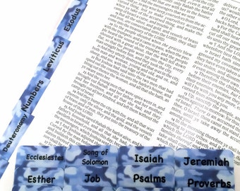 CATHOLIC Navy Blue Camoflauge Books of Bible Tabs by Victoria Anderson