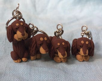 Longhaired Dachshund Stitch Markers  (set of 4)