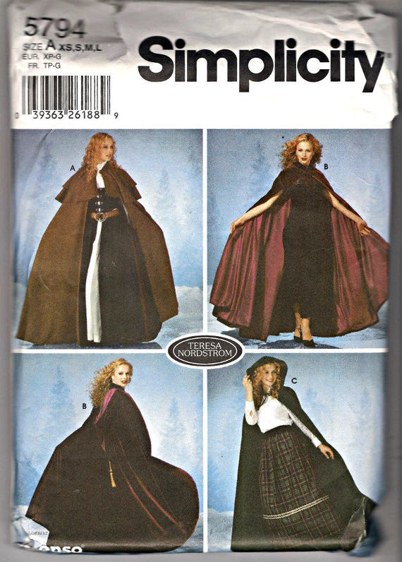 Misses Cape Cloak Sewing Pattern Simplicity 5794 Teresa