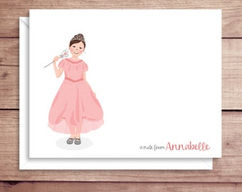 Princess Note Cards - Princess Folded Note Cards - Princess Stationery - Princess Thank You Notes - Crown Note Cards