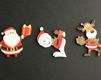 Holiday Flat Backs Cutouts. Set of Three. Scrapbooking Cut Outs. Wood Embellishments. Wood Cut Outs. Christmas Scrapbook Decorations.